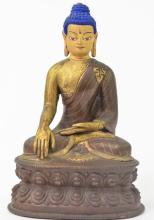 Bronze Amitabha Buddha Seated on Double Lotus Base