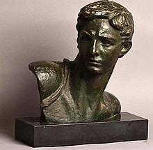 Patinated Bronze Bust of an Roman/Greek Male Signed by