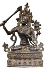 Antique Cast Bronze Boddhisatva Seated on a Double Lotus