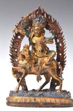 Antique Gilt Bronze Figure of Mahakala Riding a Horse