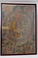 Framed  19th c. Antique Tibetan Thangka Painting