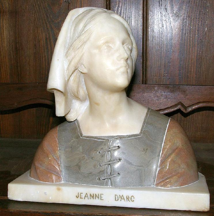 Marble & Alabaster Bust Jeanne D'Arc by