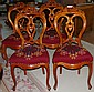Set 4 Victorian Caved Cherry Side Chairs