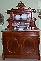 Victorian Carved Cherry Marble Top Breakfront