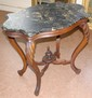 Victorian Walnut Turtle Top Table w/ Black & Gold Marble