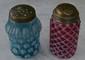 2 Pc. Blue & Cranberry Glass Sugar Shaker w/Dots