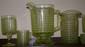 Lot 16 3 Panel Depression Vaseline Glass /Pitcher