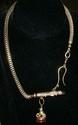 Men's Watch Chain w/14 Kt YG Whistle/Dog Fob