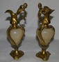 Pr. Ormolu & Alabaster Urns w/ Winged Women Handle