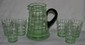 7 Pc. Green Depression Glass Lemonade Set