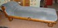 Victorian Tiger Oak Fainting Couch in Blue