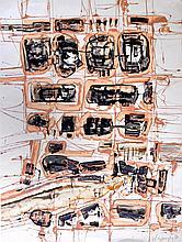 Claude GEORGES (1929-1988) Composition beige et noire, 1957 Technique mixte sign