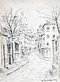 Serge MENDJINSKI né en 1929. Rue de Montmartre. Encre signée.