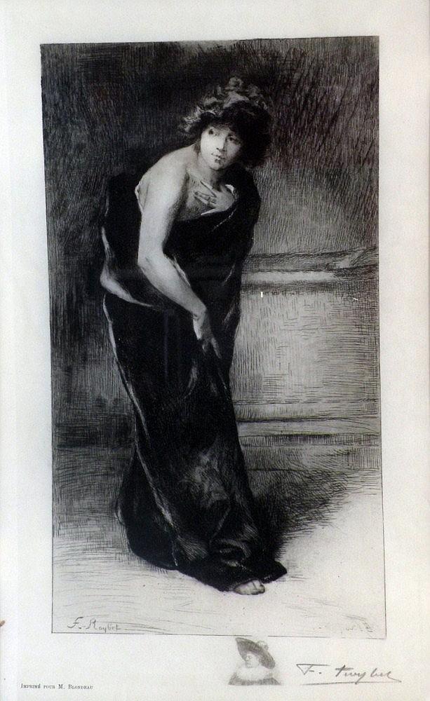 Ferdinand ROYBET (1840-1920) Femme drapée. Pointe sèche signée en bas à droite.