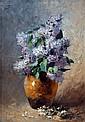 Louis LEBLANC. Bouquet de lilas. Huile sur panneau signé.