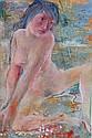 Otto Rudolf SCHATZ (1900-1961). Jeune femme assise. Gouache monogrammée en haut