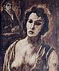 PONCET, XXe. Femme au coeur tatoué. Lavis d'encre sur papier signé.