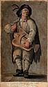 Jean François HUGUET (1679-1749). Cet ignorant vielleur... Dessin à l'encre et l