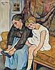 Suzanne VALADON (1865-1938). Grand-mère chaussant une fillette, 1931. Toile sign