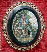 MEDAILLON ovale en micro-mosaïque, berger italien, monté sur un support grani de