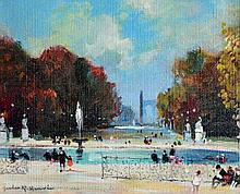 Jules René HERVÉ (1887-1981) Le bassin du jardin des Tuileleries. Huile sur tole