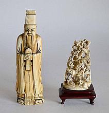 Lot de deux SUJETS en ivoire sculpté, sage barbu au bonnet et personnages parmi