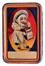 Originale BOITE à JEU de cartes publicitaire en tôle lithographiée, à décor de P