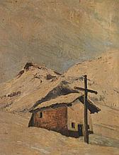 P. DOUARD, XXe. Chapelle en montagne. Huile sur isorel signée en bas à droite. 8