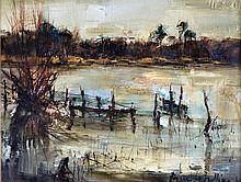 Pierre LETELLIER (1928-2000) Pêcheur à Grandlieu. Huile sur toile signée en bas