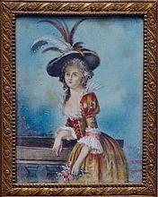 MINIATURE rectangulaire sur ivoire, portrait de femme en habit du XVIIIe. Fin XI