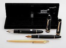 MONTBLANC Füllerset 3-teilig, schwarzgoldfarben;