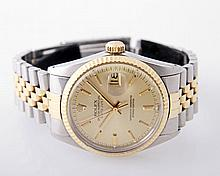 ROLEX Herrenuhr Oyster Perpetual DATEJUST, Chronometer, Stahl/ GG 18 K,