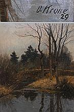 KRONE, OTTO (1874-1957): Bachlauf mit Brücke, 1929.