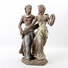 KARLSRUHER MAJOLIKA, Menuett, Entwurf Lore Friedrich-Gronau (1908 - 2002), Modelnr: 6397, Keramik partiell galsiert.