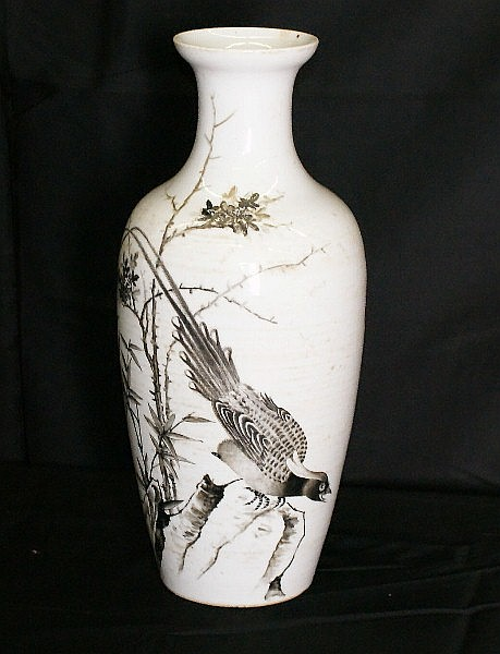 19th C Chinese porcelain vase with marks on