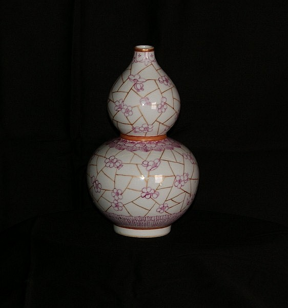 19th C Chinese porcelain double gourd shaped vase