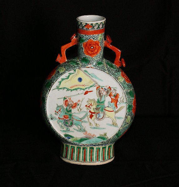 19th C Chinese porcelain moon flask vase . H:8.5