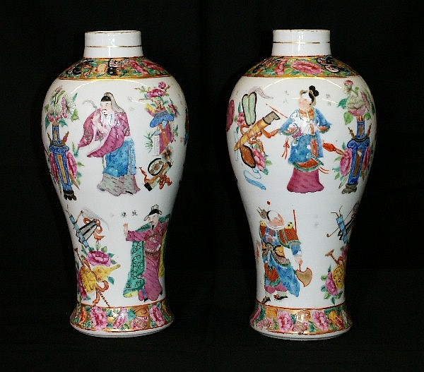 Pr 18th C Chinese porcelain vases with enamel decorations