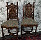 Pair of Italian carved walnut and parcel gilt and polychrome side chairs, signed,