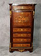 19th C French inlaid and bronze mounted secretary abatant. H:51. 5