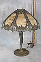 L22 POSSIBLE PITTSBURGH 1920s CAST ORNATE CARAMEL SLAG GLASS SINGLE BULB LAMP