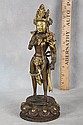 L82 CHINESE BRONZE DIPPED CAST METAL 1910 IMPRESSED BASE VOLUPTUOUS FEMALE DEITY