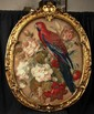 L40 ANTIQUE LARGE FRAMED 18th C. STUMPWORK PARROT