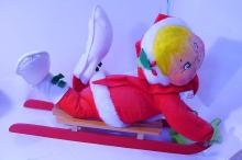 VINTAGE ANNALEE HOLIDAY SLED DOLL WITH ORIGINAL TAGS