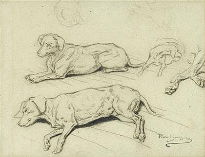 ROSA BONHEUR, (FRENCH 1822-1899), DOG STUDIES