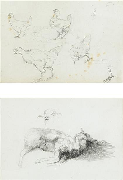 THREE DRAWINGS ROSA BONHEUR, (FRENCH 1822-1899), STUDY OF CHICKENS