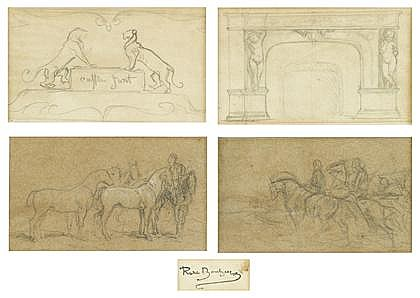 FOUR PENCIL STUDIES ROSA BONHEUR, (FRENCH 1822-1899), ARCHITECTURAL LION ORNAMENTS; MANTLEPIECE FLANKED BY FIGURES; GROUP OF HORSES FAC
