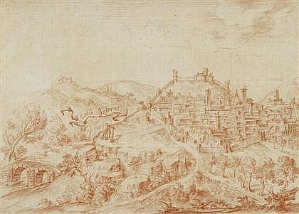 FRENCH SCHOOL, (LATE 17TH CENTURY), VIEW OF A WALLED TOWN