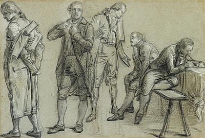 FRENCH SCHOOL, (CIRCA 1800), STUDY OF FIVE STATESMEN