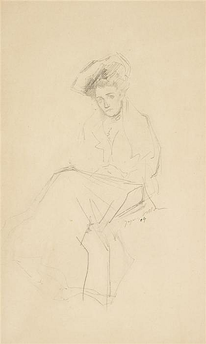 JACQUES VILLON, (FRENCH 1875-1963), STUDY FOR A SEATED WOMAN WITH CHAPEAU